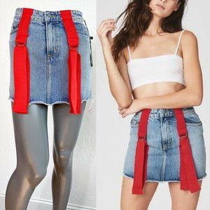 LF Carmar Colin Denim Mini Skirt Blue Suspender 26